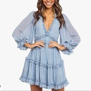 Blue Long Sleeve Ruffle Layer Swing Dress